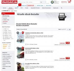 """""""Frühstück in Amsterdam"""" auf Platz 1 der eBook-Bestseller von Weltbild am 14. Mai 2014"""