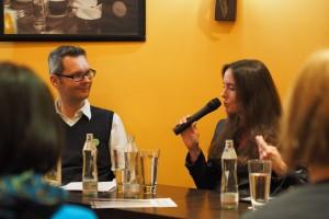 Tanja Kinkel im Gespräch mit dotbooks Programmleiter Timothy Sonderhüsken (c) Andreas Gyo